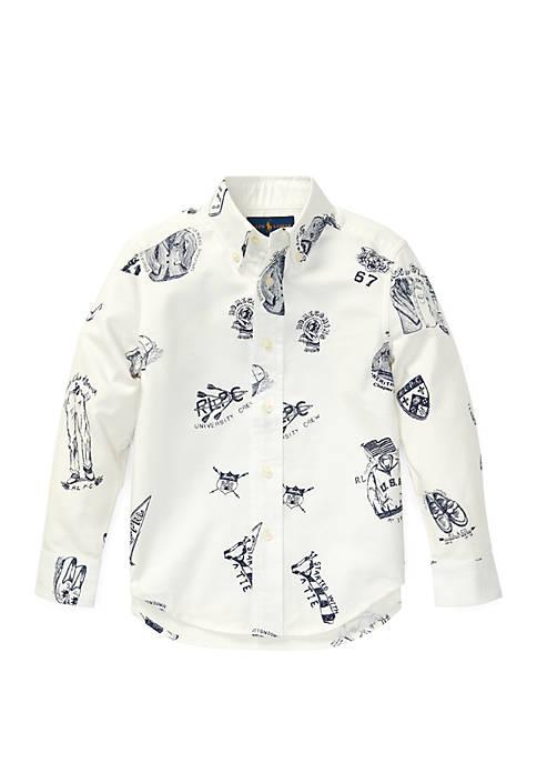 Ralph Lauren Childrenswear Boys 4-7 Icon-Print Cotton Oxford