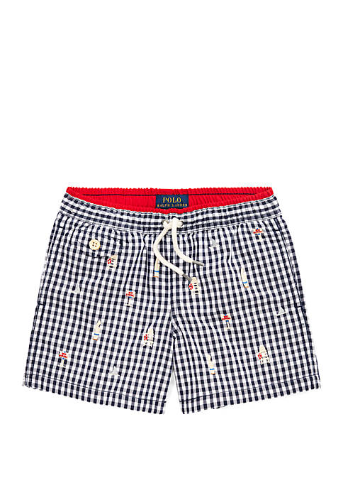 Ralph Lauren Childrenswear Boys 4-7 Traveler Gingham Swim