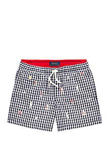 Ralph Lauren Childrenswear Boys 4-7 Traveler Gingham Swim Trunks