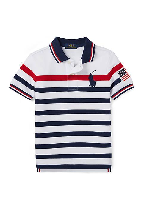 Boys 4-7 Striped Cotton Mesh Polo Shirt