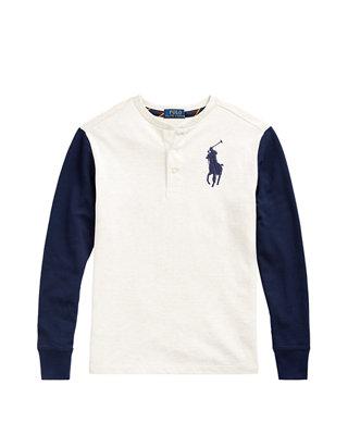 Polo Ralph Lauren Men/'s Black Big Pony Cotton Mesh Pullover Henley Hoodie
