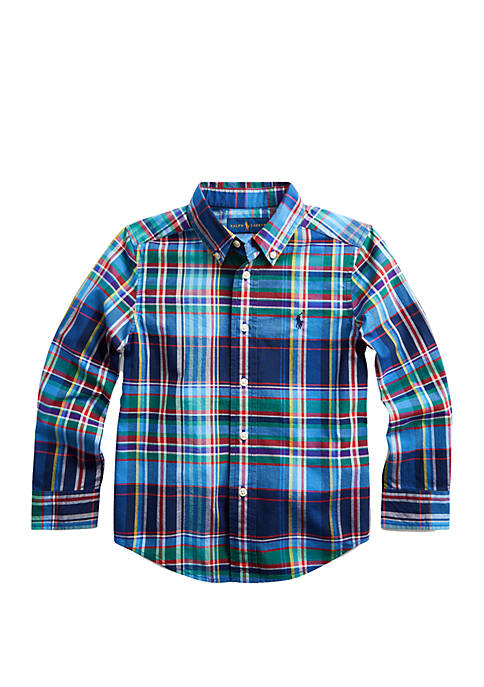Ralph Lauren Childrenswear Boys 4-7 Plaid Stretch Cotton