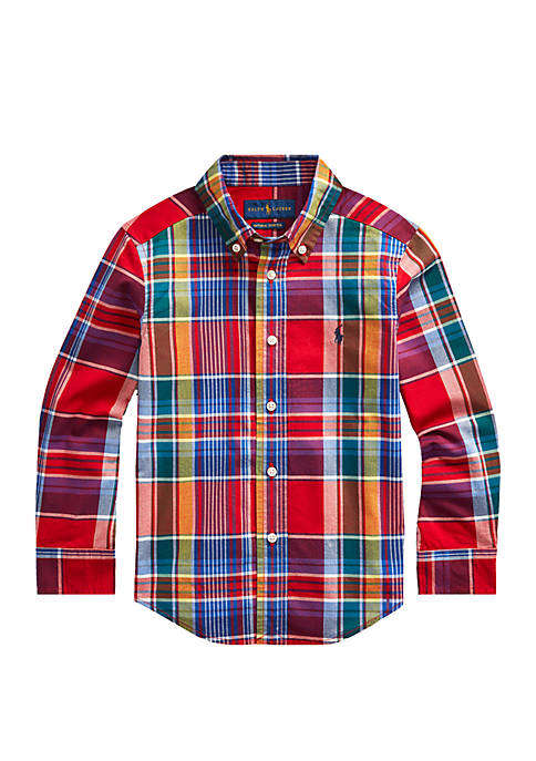 Boys 4-7 Plaid Stretch Cotton Shirt