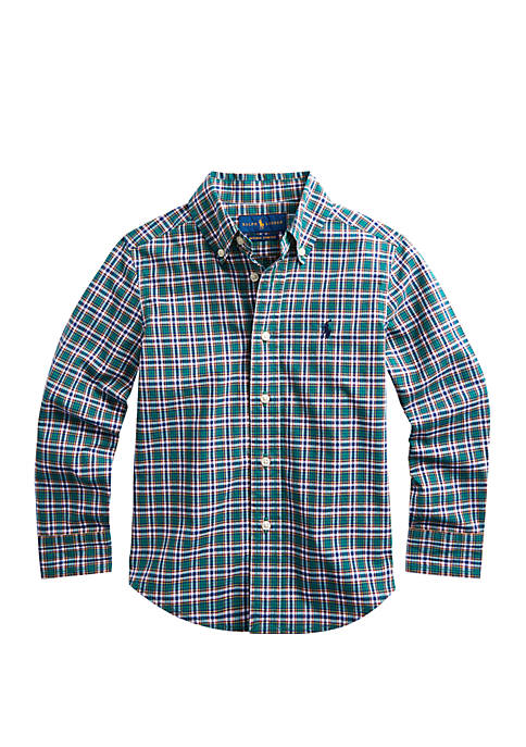 Boys 4-7 Plaid Stretch Cotton Shirt