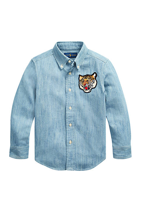 Ralph Lauren Childrenswear Boys 4-7 Tiger Plaid Cotton