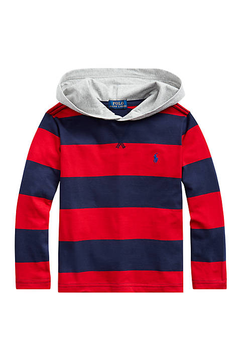 Boys 4-7 Striped Cotton Jersey Hooded T-Shirt