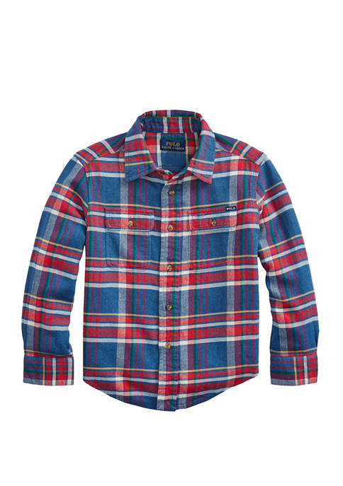 Boys 4-7 Plaid Cotton Twill Workshirt