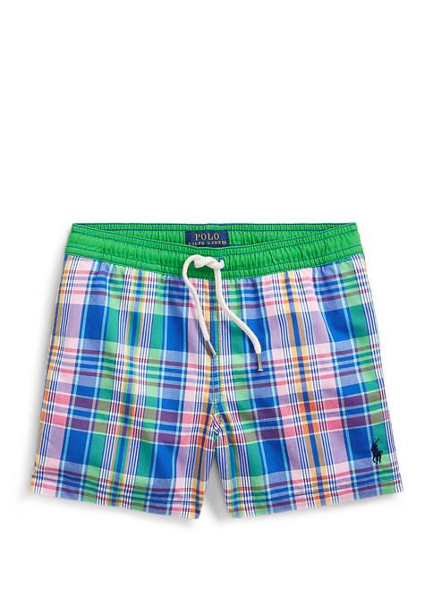 Ralph Lauren Childrenswear Boys 4-7 Traveler Plaid Swim