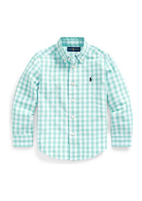 Boys 4-7 Gingham Cotton-Blend Shirt