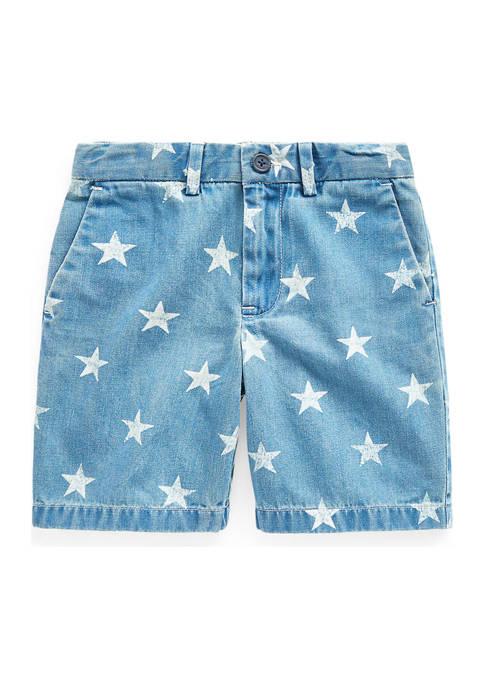 Ralph Lauren Childrenswear Boys 4-7 Star-Print Denim Shorts