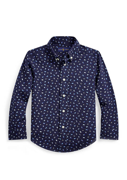 Ralph Lauren Childrenswear Boys 4-7 Nautical Seersucker Shirt