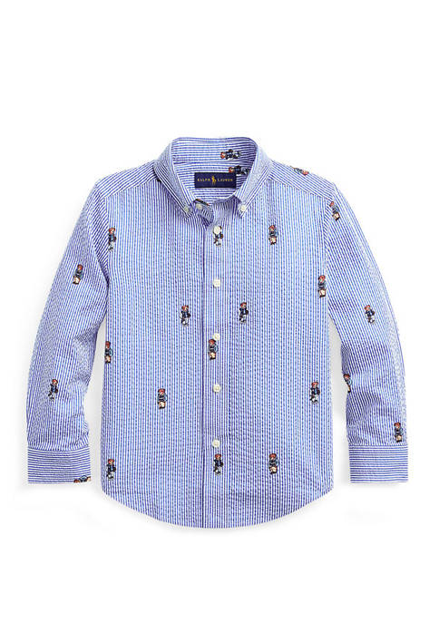 Ralph Lauren Childrenswear Boys 4-7 Boating Bear Seersucker
