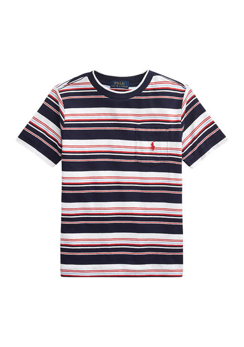 Boys 4-7 Striped Cotton Pocket T-Shirt