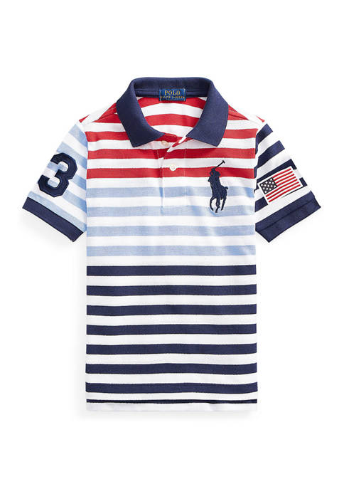 Boys 4-7 Striped Cotton Mesh Polo Shirt