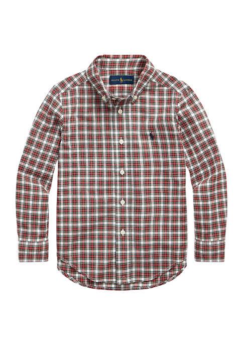 Ralph Lauren Childrenswear Boys 4-7 Plaid Cotton Poplin
