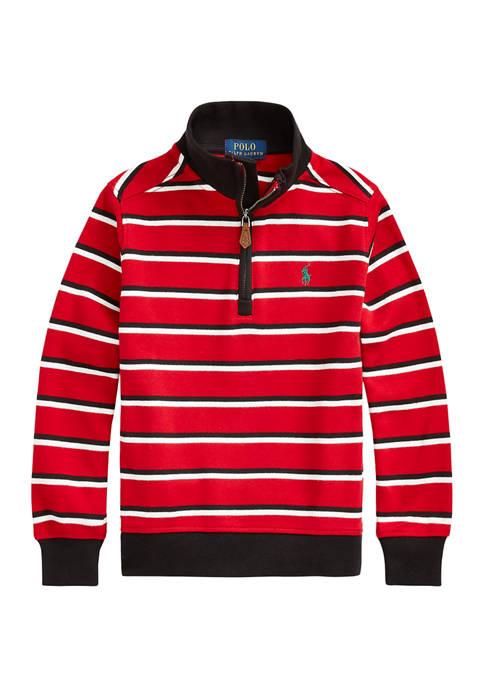 Boys 4-7 Striped Cotton Quarter-Zip Pullover