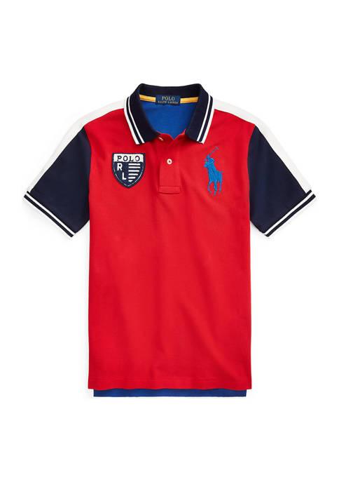 Boys 4-7 Color Blocked Cotton Mesh Polo Shirt