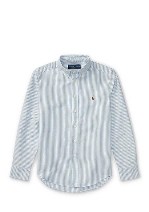 Striped Cotton Oxford Button Front Shirt Boys 8-20