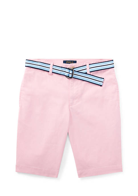 Slim Fit Belted Stretch Shorts Boys 8-20