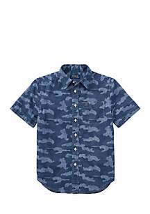 Boys 8-20 Camo Cotton Chambray Shirt