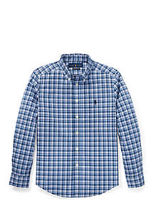 Boys 8-20 Plaid Stretch Poplin Shirt