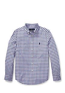 Boys 8-20 Plaid Stretch Poplin Shirt