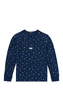 Boys 8-20 Star-Print Cotton Mesh Henley Shirt