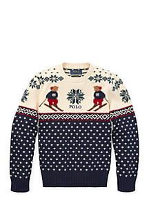 Boys 8-20 Ski Bear Cotton Merino Sweater