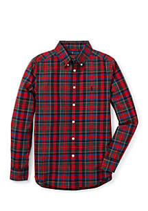 Boys 8-20 Plaid Cotton Poplin Shirt