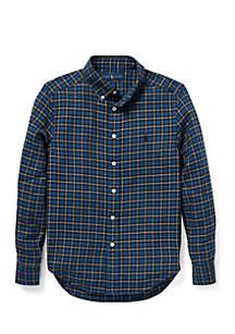 Boys 8-20 Plaid Cotton Twill Shirt