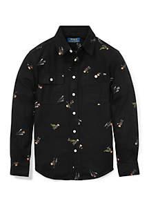 Boys 8-20 Polo Bear Cotton Flannel Shirt