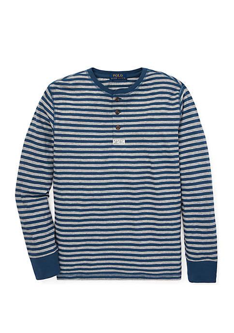 Boys 8-20 Striped Cotton Mesh Henley Shirt