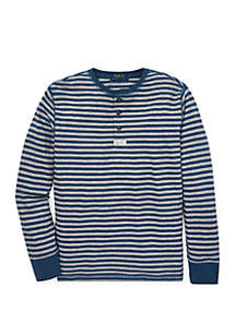 Boys 8-20 Striped Cotton Mesh Henley Shirt