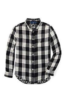 Boys 8-20 Reversible Plaid Cotton Shirt