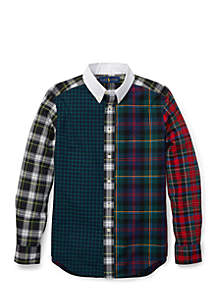Boys 8-20 Plaid Cotton Poplin Fun Shirt