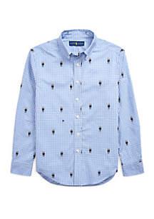 Ralph Lauren Childrenswear Boys 8-20 Polo Bear Gingham Cotton Shirt