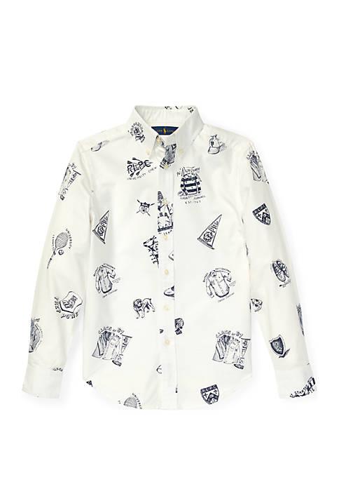 Ralph Lauren Childrenswear Boys 8-20 Icon-Print Cotton Oxford