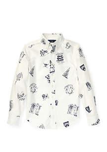 Ralph Lauren Childrenswear Boys 8-20 Icon-Print Cotton Oxford Shirt
