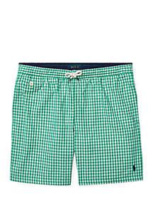 Ralph Lauren Childrenswear Boys 8-20 Traveler Gingham Swim Trunks