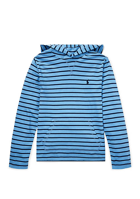 Boys 8-20 Striped Cotton Jersey Hooded Tee