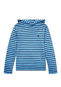 Ralph Lauren Childrenswear Boys 8-20 Striped Cotton Jersey Hooded Tee
