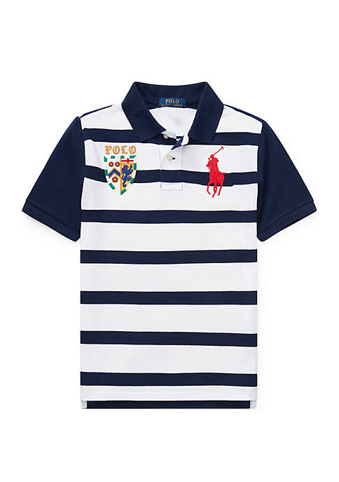 Boys 8-20 Striped Cotton Mesh Polo Shirt