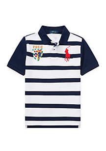 Ralph Lauren Childrenswear Boys 8-20 Striped Cotton Mesh Polo Shirt