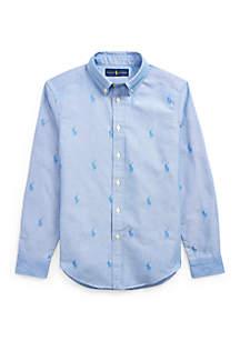 Ralph Lauren Childrenswear Boys 8-20 Allover Pony Cotton Shirt