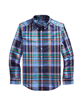 Ralph Lauren Polo Boys Checked Cotton Poplin Plaid Shirt