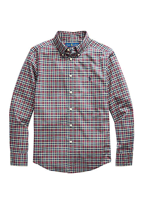 Boys 8-20 Plaid Stretch Cotton Shirt
