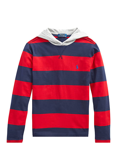 Boys 8-20 Striped Cotton Jersey Hooded T-Shirt