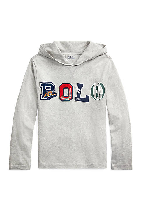 Boys 8-20 Polo Cotton Jersey Hooded T-Shirt