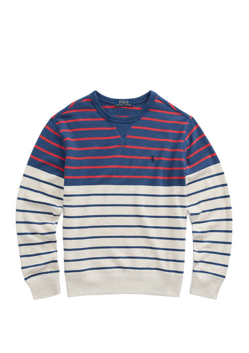 Boys 8-20 Striped Cotton French Terry Sweatshirt