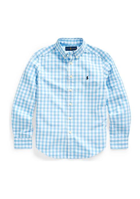 Boys 8-20  Gingham Cotton-Blend Shirt